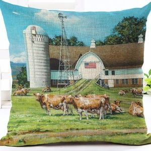 Other - Pillow Cover-New- Cows at Country Farm Barn Silo